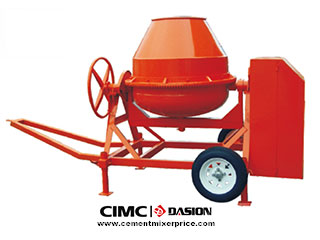Tilting drum for concrete mixers